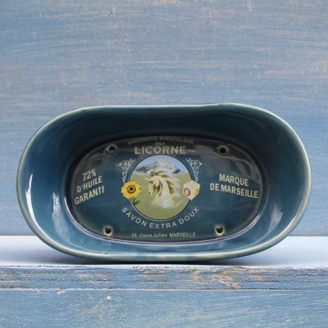 PORTASAPONE in CERAMICA ovale blu